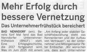 Schaumburger Wochenblatt berichtet über BNUF