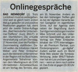 Schaumburger Wochenblatt kündigt Online BNUT an.